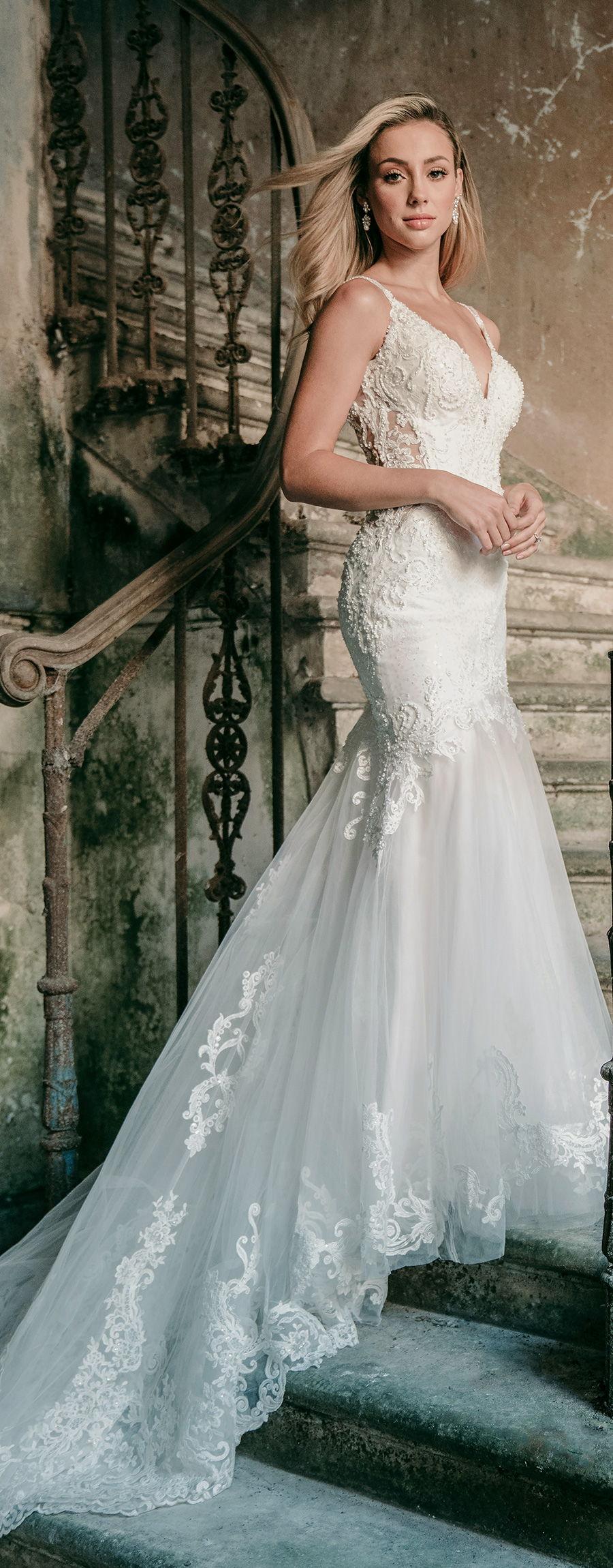madison james spring 2020 bridal double strap v neck heavily embellished bodice elegant fit and flare wedding dress backless scoop back chapel train (mj602) lv