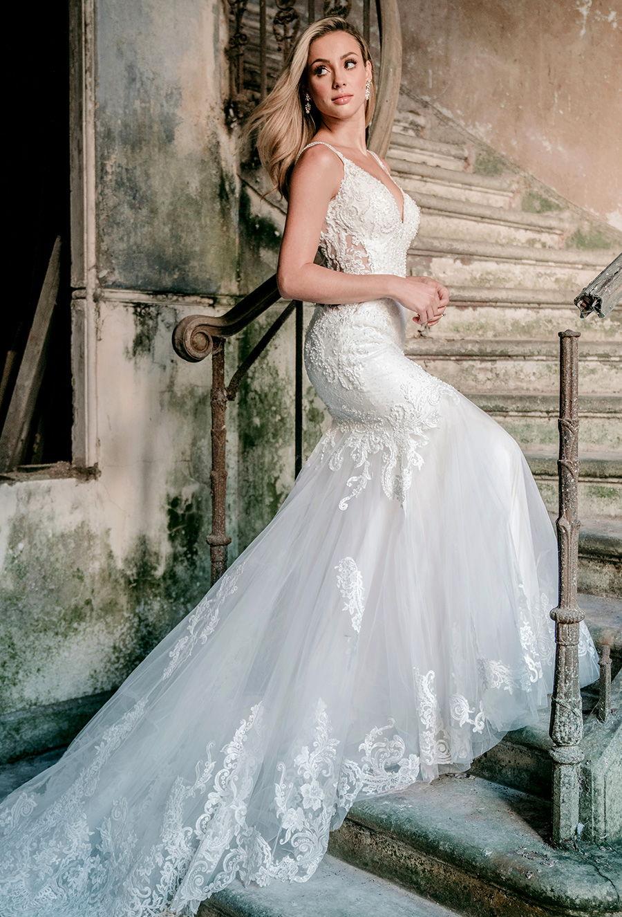 madison james spring 2020 bridal double strap v neck heavily embellished bodice elegant fit and flare wedding dress backless scoop back chapel train (mj602) mv