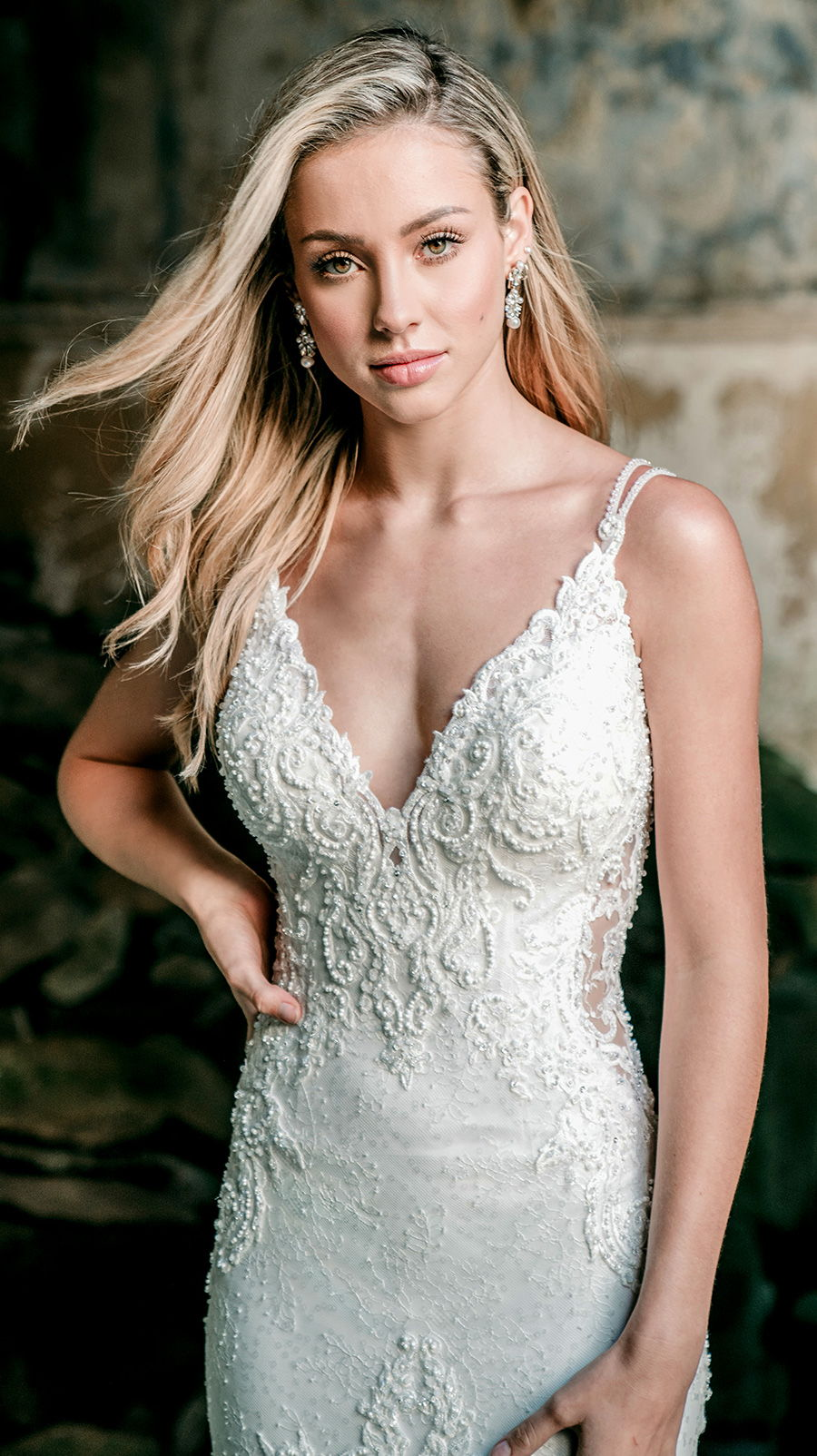 madison james spring 2020 bridal double strap v neck heavily embellished bodice elegant fit and flare wedding dress backless scoop back chapel train (mj602) zv