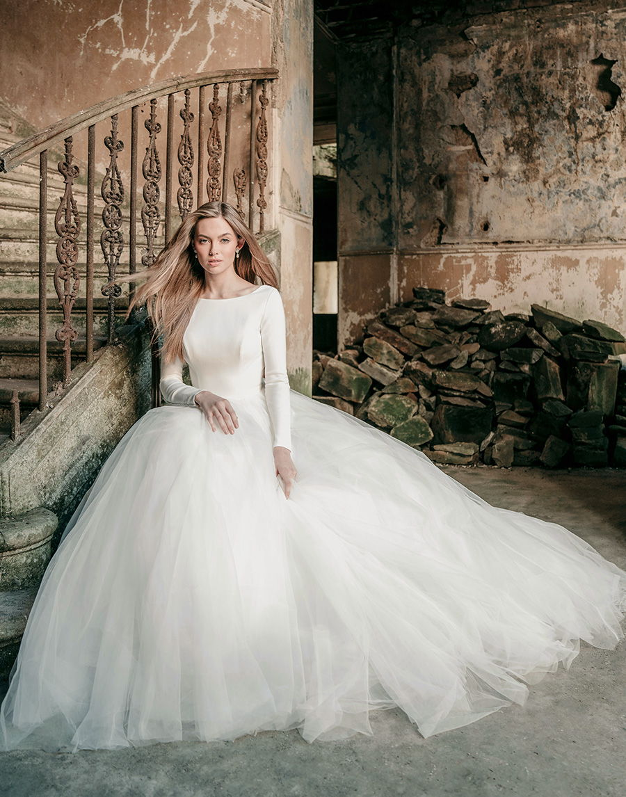 madison james spring 2020 bridal long sleeves bateau neckline simple minimalist bodice tulle skirt romantic a  line wedding dress backless low v back chapel train (mj614) mv