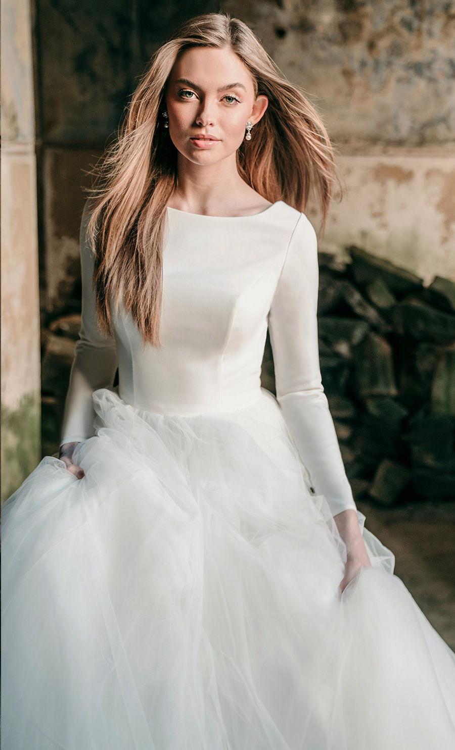 madison james spring 2020 bridal long sleeves bateau neckline simple minimalist bodice tulle skirt romantic a  line wedding dress backless low v back chapel train (mj614) zv