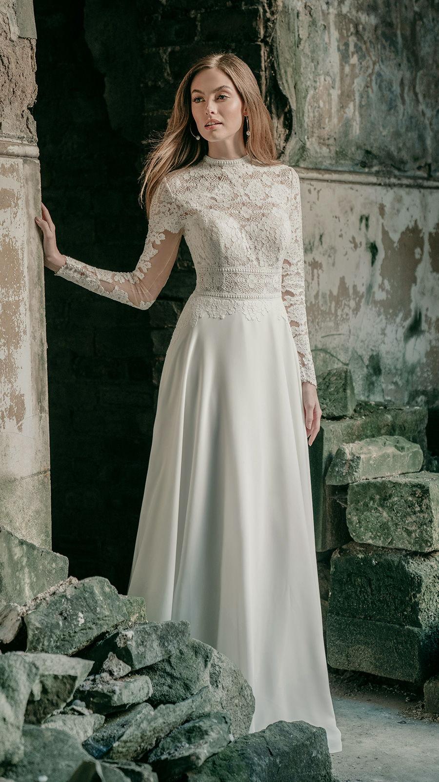 madison james spring 2020 bridal long sleeves high neck heavily embellished bodice modest elegant a  line wedding dress covered lace back chapel train (mj623) mv