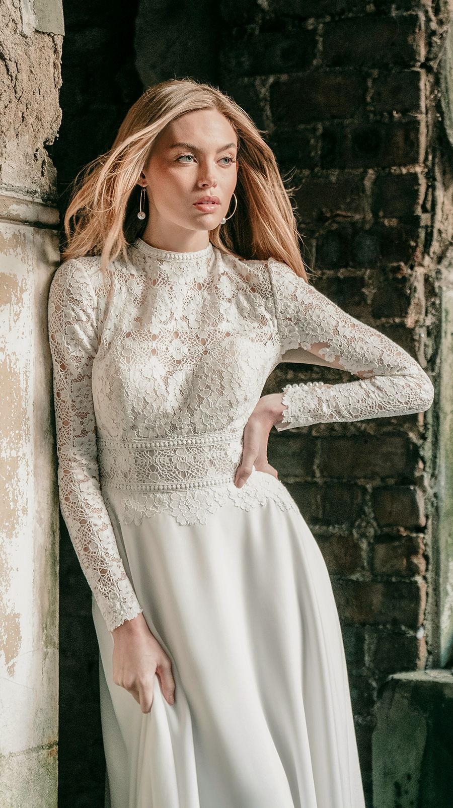 madison james spring 2020 bridal long sleeves high neck heavily embellished bodice modest elegant a  line wedding dress covered lace back chapel train (mj623) zv
