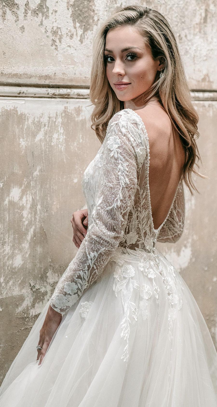 madison james spring 2020 bridal long sleeves off the shoulder v neck heavily embellished bodice tulle skirt romantic a  line wedding dress backless v back chapel train (mj617) bv