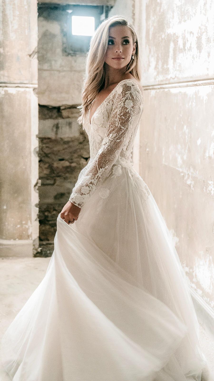 madison james spring 2020 bridal long sleeves off the shoulder v neck heavily embellished bodice tulle skirt romantic a  line wedding dress backless v back chapel train (mj617) sdv