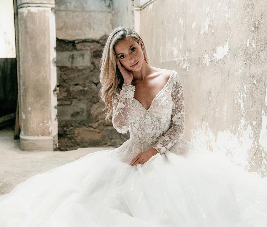 madison james spring 2020 bridal long sleeves off the shoulder v neck heavily embellished bodice tulle skirt romantic a  line wedding dress backless v back chapel train (mj617) zv