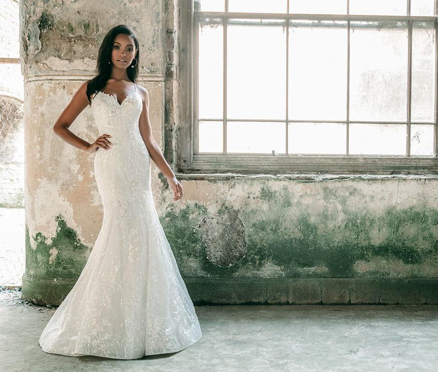 madison james spring 2020 bridal sleeveless spaghetti strap sweetheart neckline full embellishment romantic fit and flare wedding dress backless chapel train (mj620) fv