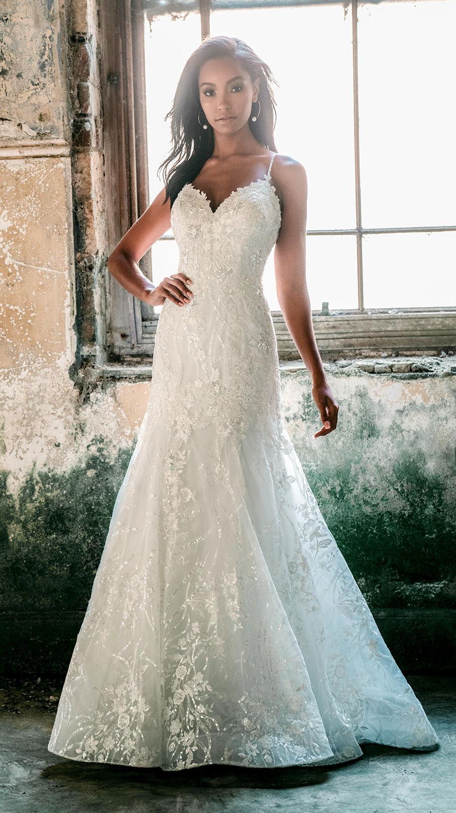 madison james spring 2020 bridal sleeveless spaghetti strap sweetheart neckline full embellishment romantic fit and flare wedding dress backless chapel train (mj620) mv