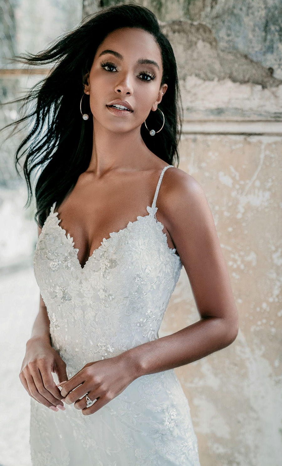 madison james spring 2020 bridal sleeveless spaghetti strap sweetheart neckline full embellishment romantic fit and flare wedding dress backless chapel train (mj620) zv