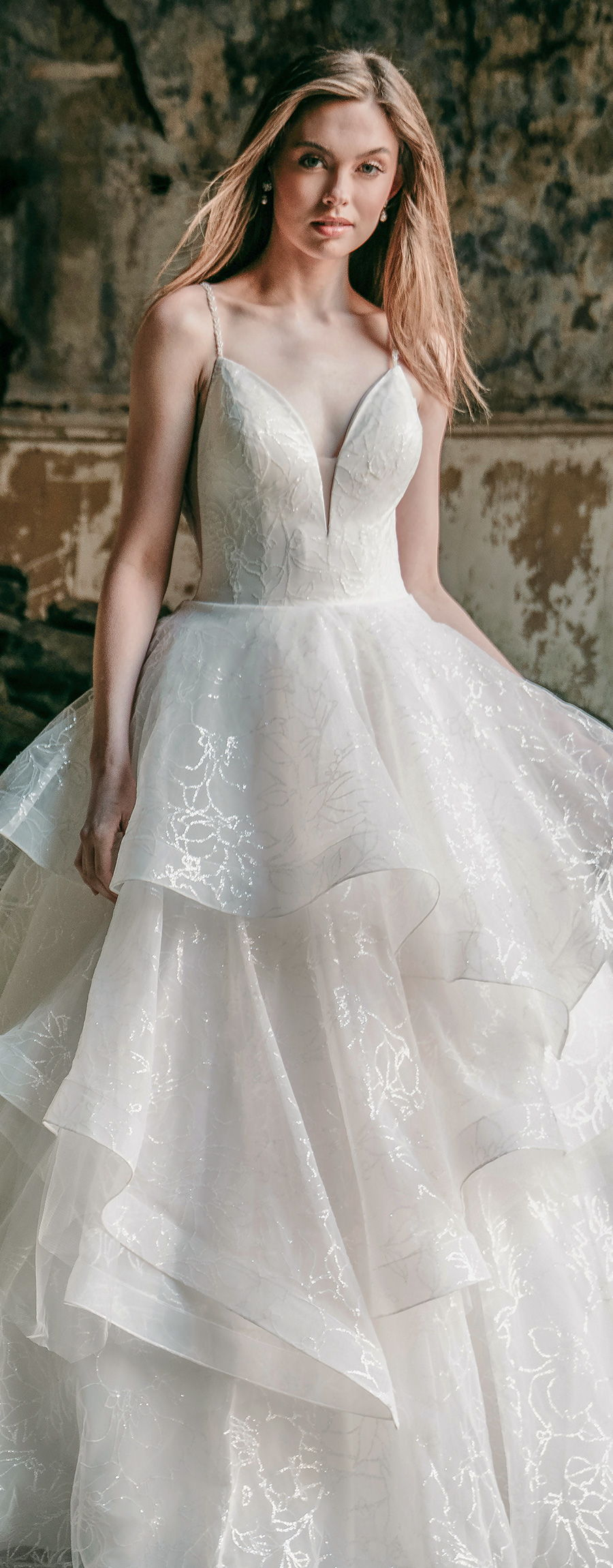 madison james spring 2020 bridal spaghetti strap deep plunging sweetheart neckline heavily embellished bodice tiered skirt romantic a  line wedding dress backless chapel train (mj625) lv