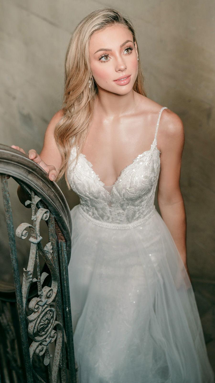 madison james spring 2020 bridal spaghetti strap diamond neck full embellishment elegant fit and flare wedding dress a  line overskirt backless scoop back medium train (mj619) zv