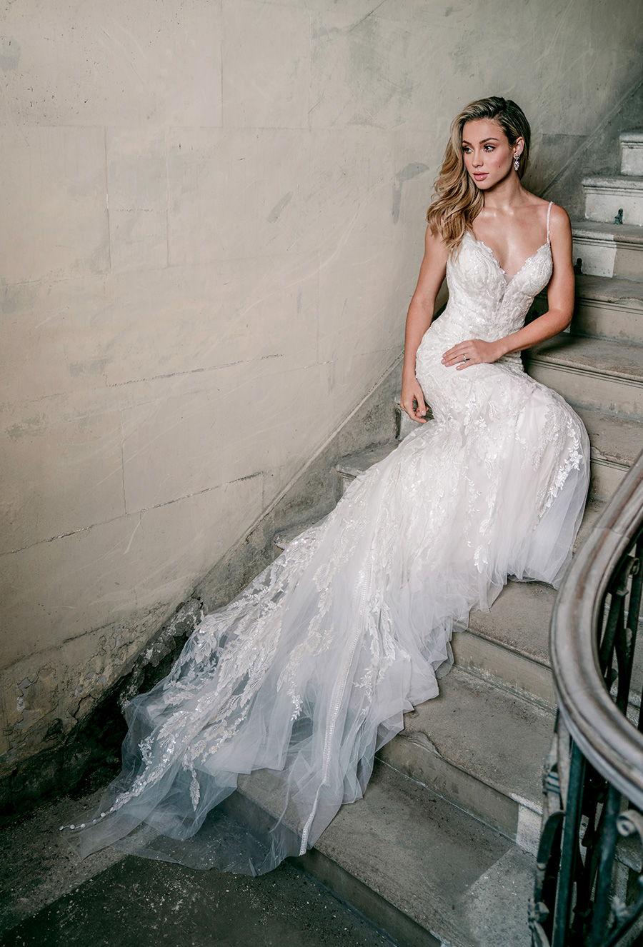 madison james spring 2020 bridal spaghetti strap diamond neck full embellishment elegant fit and flare wedding dress backless scoop back medium train (mj619) mv