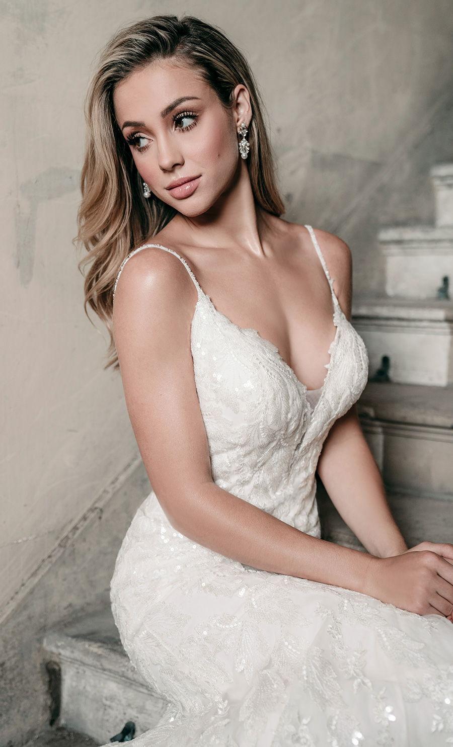 madison james spring 2020 bridal spaghetti strap diamond neck full embellishment elegant fit and flare wedding dress backless scoop back medium train (mj619) zv