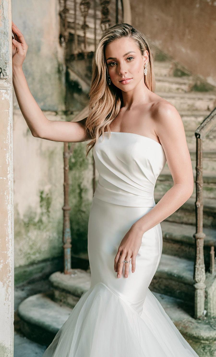 madison james spring 2020 bridal strapless straight across neckline simple minimalist classic elegant mermaid wedding dress mid back chapel train (mj624) zv
