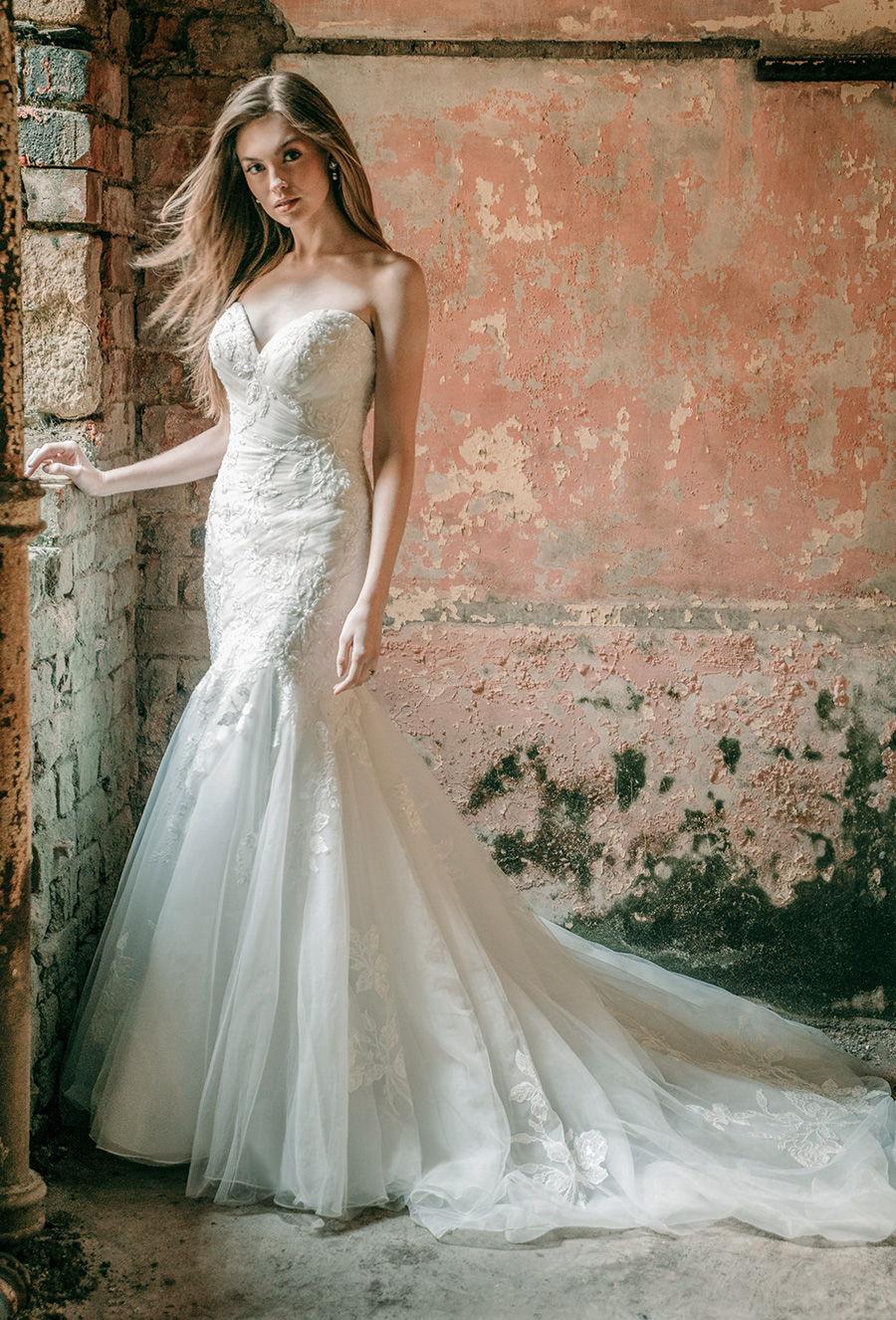 madison james spring 2020 bridal strapless sweetheart neckline heavily embellished bodice romantic mermaid wedding dress mid back chapel train (mj604) mv