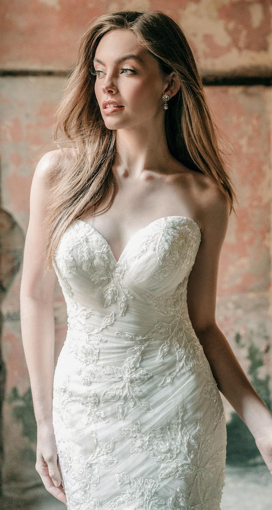 madison james spring 2020 bridal strapless sweetheart neckline heavily embellished bodice romantic mermaid wedding dress mid back chapel train (mj604) zv