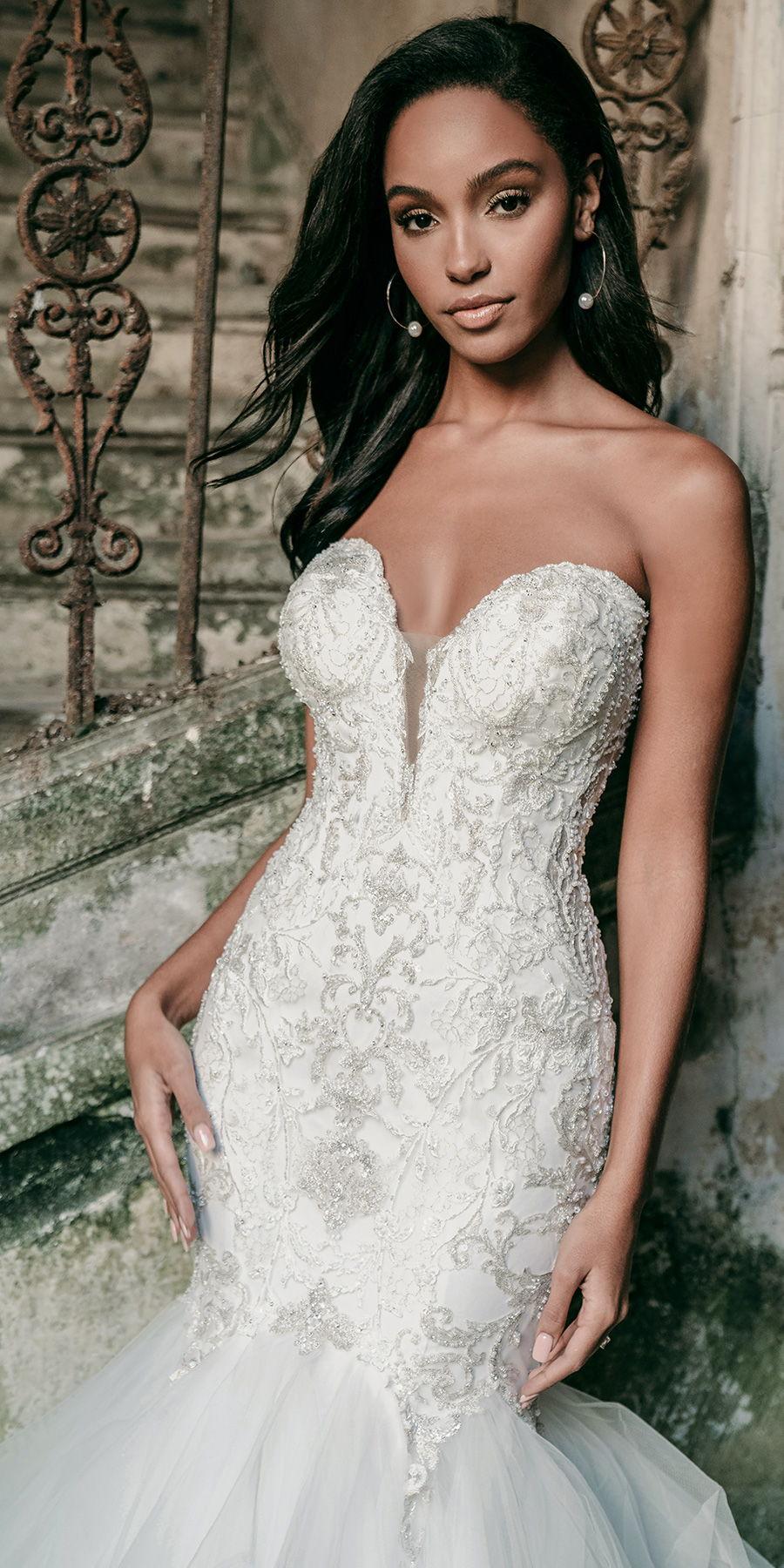 madison james spring 2020 bridal strapless sweetheart neckline heavily embellished bodice romantic mermaid wedding dress mid back medium train (mj615) bv