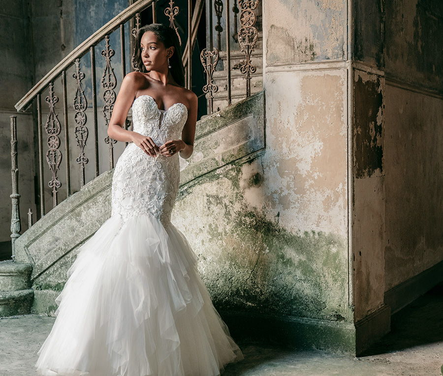 madison james spring 2020 bridal strapless sweetheart neckline heavily embellished bodice romantic mermaid wedding dress mid back medium train (mj615) fv