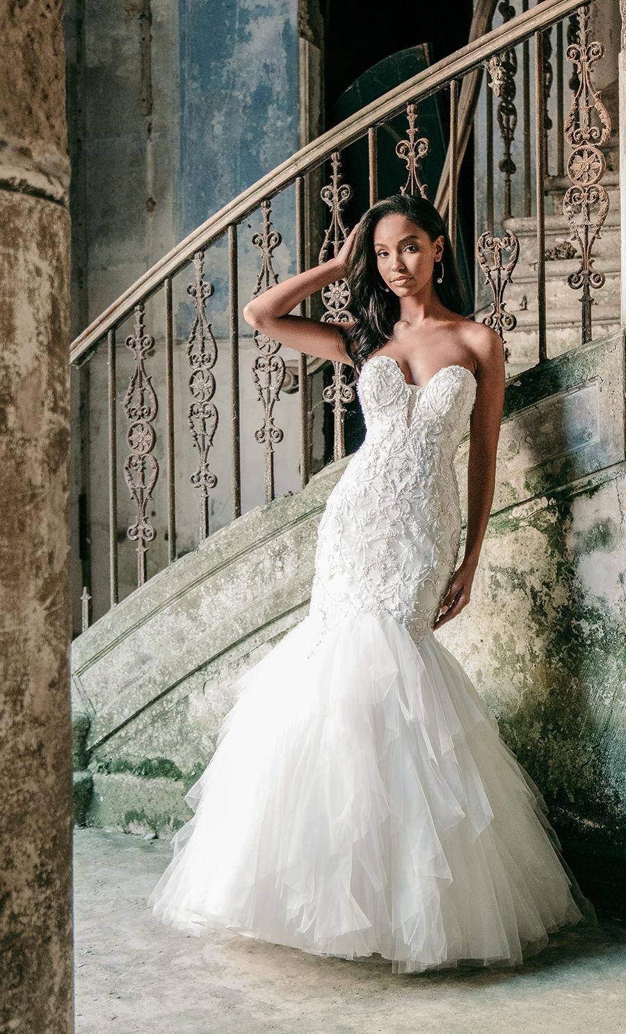 madison james spring 2020 bridal strapless sweetheart neckline heavily embellished bodice romantic mermaid wedding dress mid back medium train (mj615) mv