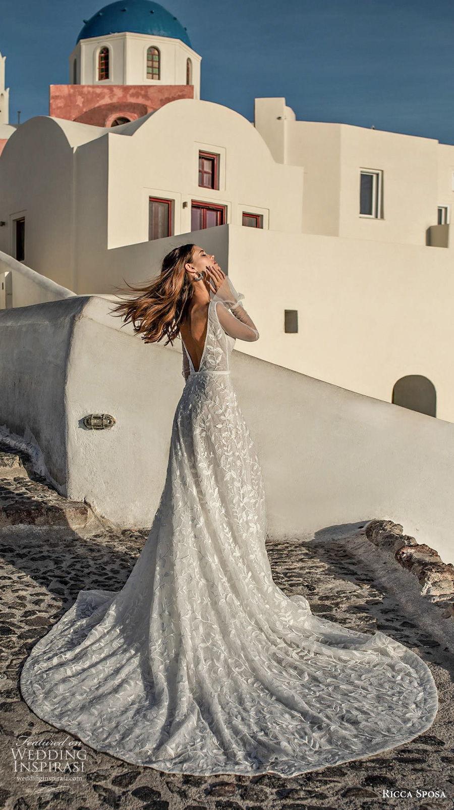ricca sposa 2021 bridal long sleeves deep v neck full embellishment romantic a  line wedding dress backless v back chapel train (9) bv