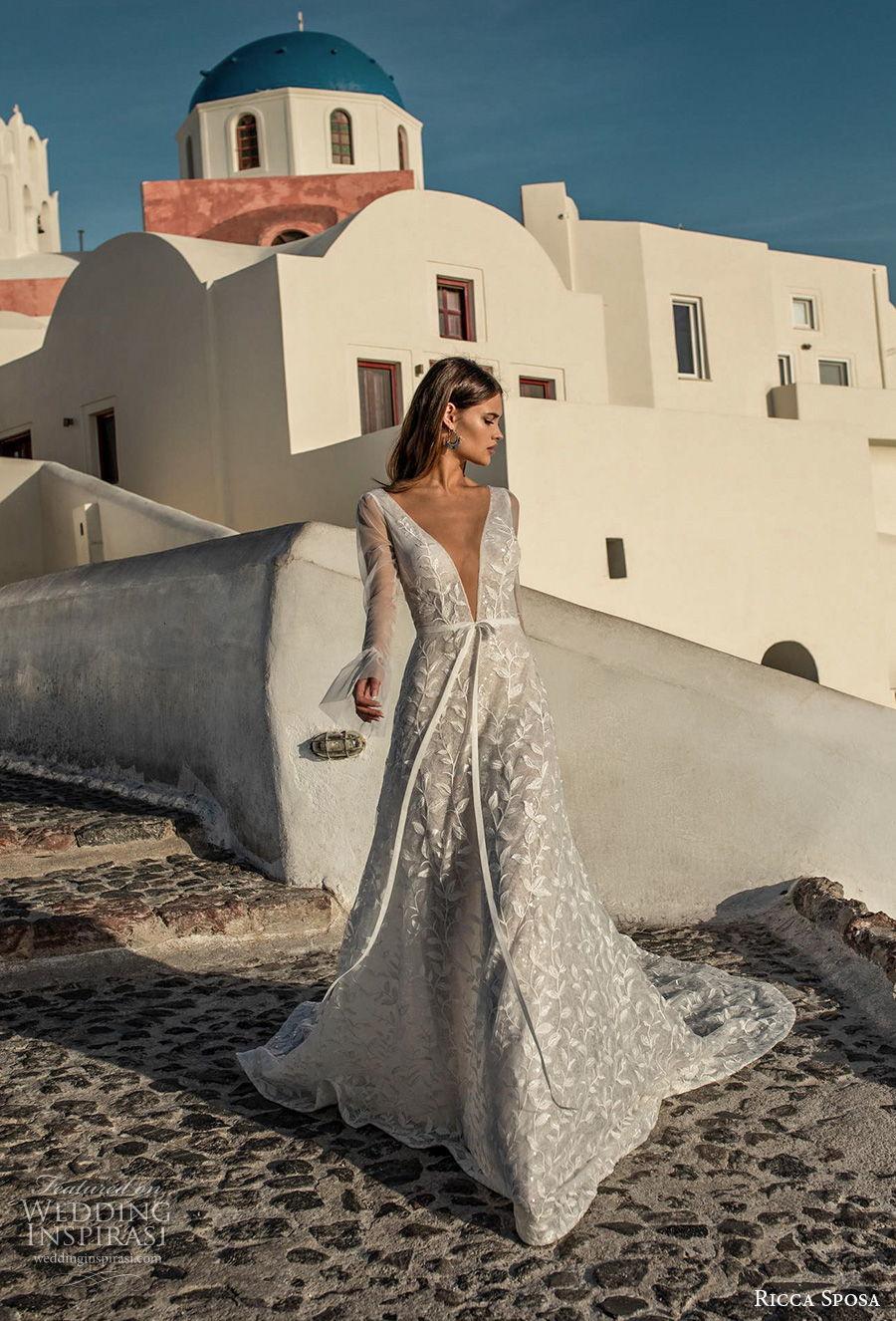 ricca sposa 2021 bridal long sleeves deep v neck full embellishment romantic a  line wedding dress backless v back chapel train (9) mv