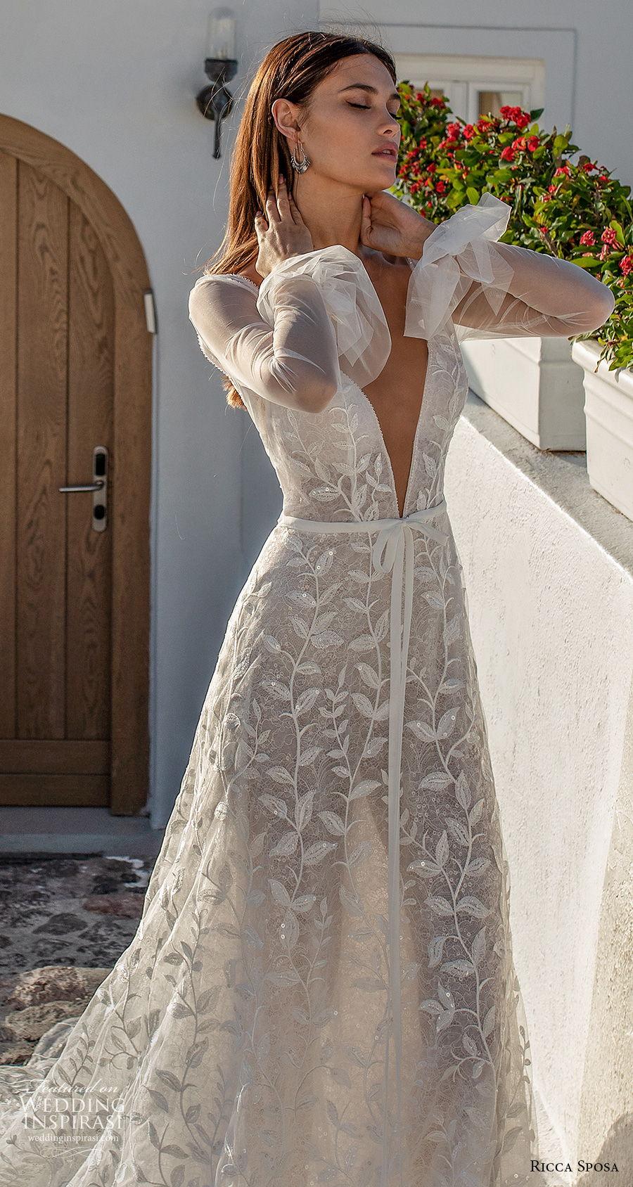 ricca sposa 2021 bridal long sleeves deep v neck full embellishment romantic a  line wedding dress backless v back chapel train (9) zv