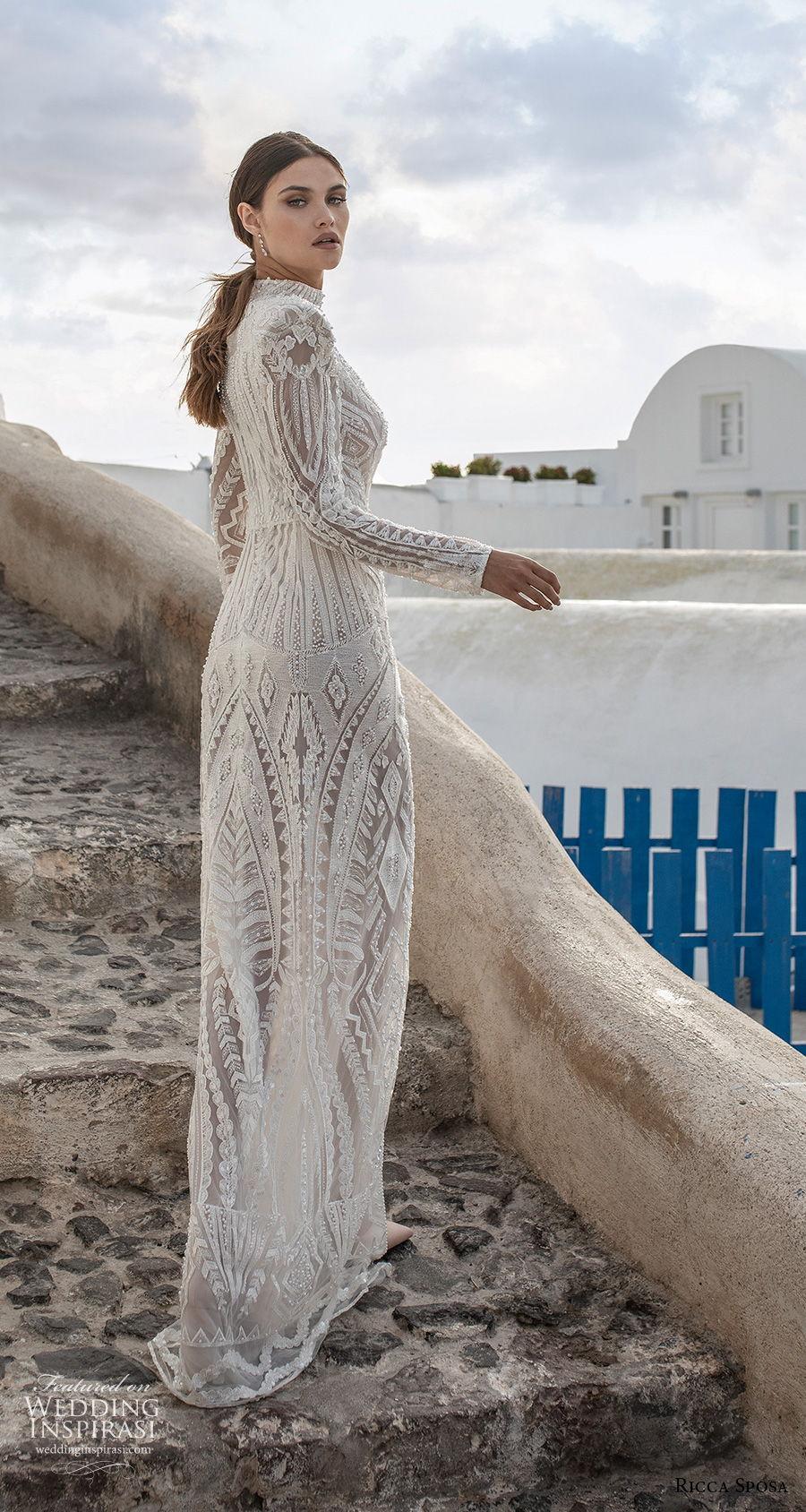 ricca sposa 2021 bridal long sleeves high neck full embellishment slit skirt elegant glamorous sheath wedding dress covered back sweep train (13) bv