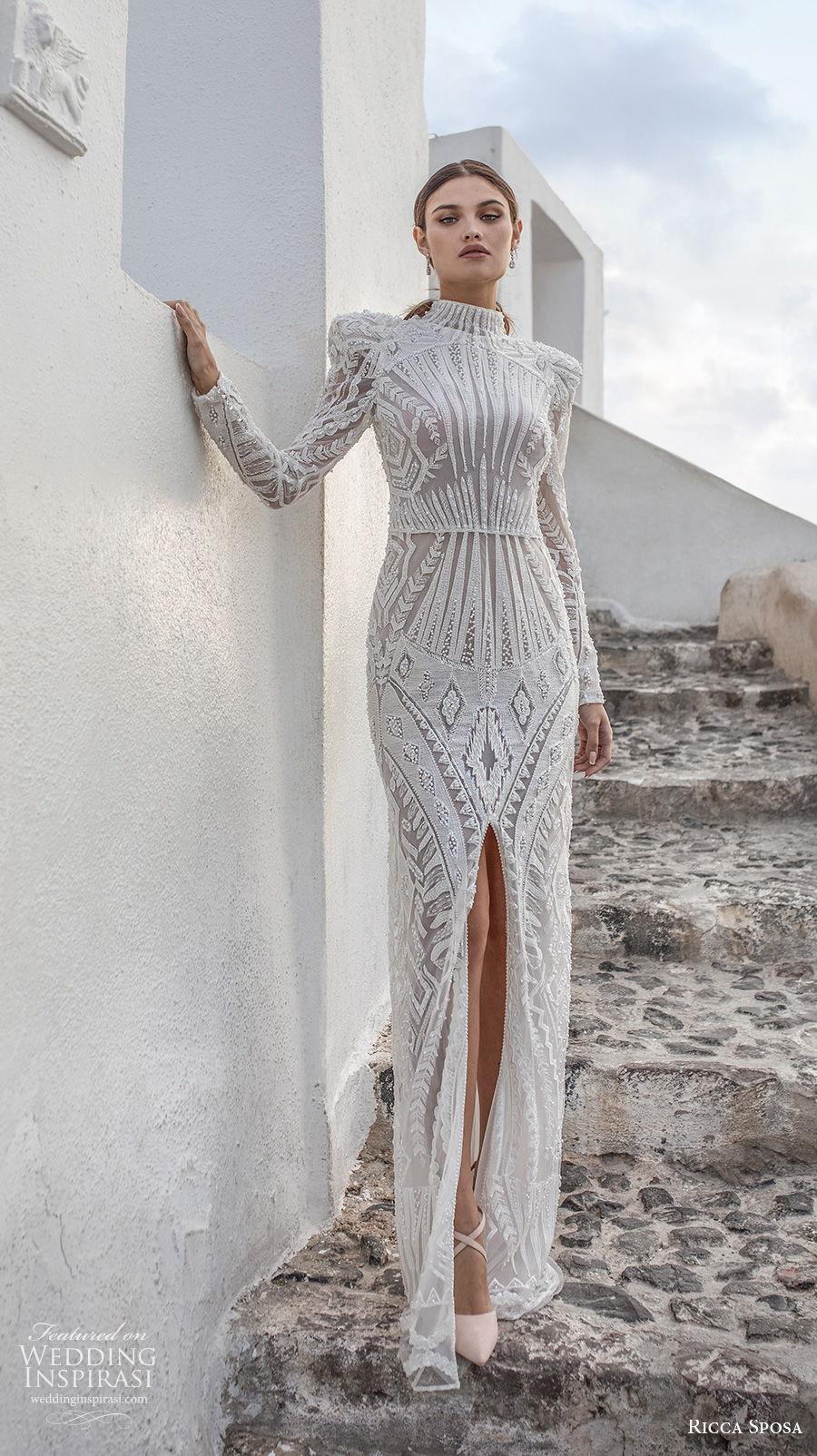 ricca sposa 2021 bridal long sleeves high neck full embellishment slit skirt elegant glamorous sheath wedding dress covered back sweep train (13) mv