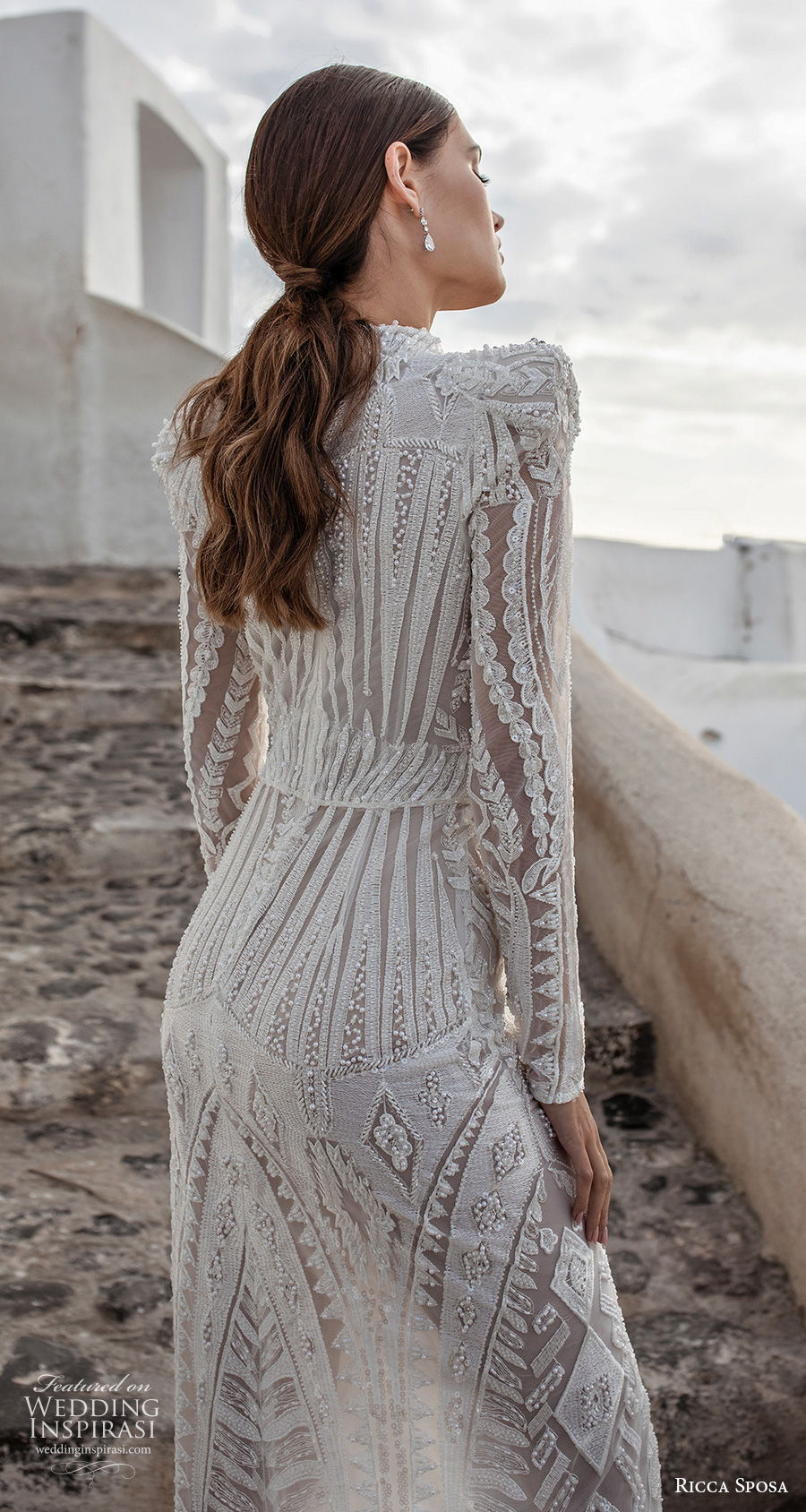 ricca sposa 2021 bridal long sleeves high neck full embellishment slit skirt elegant glamorous sheath wedding dress covered back sweep train (13) zbv
