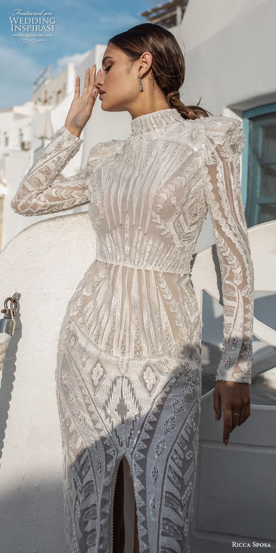 ricca sposa 2021 bridal long sleeves high neck full embellishment slit skirt elegant glamorous sheath wedding dress covered back sweep train (13) zv