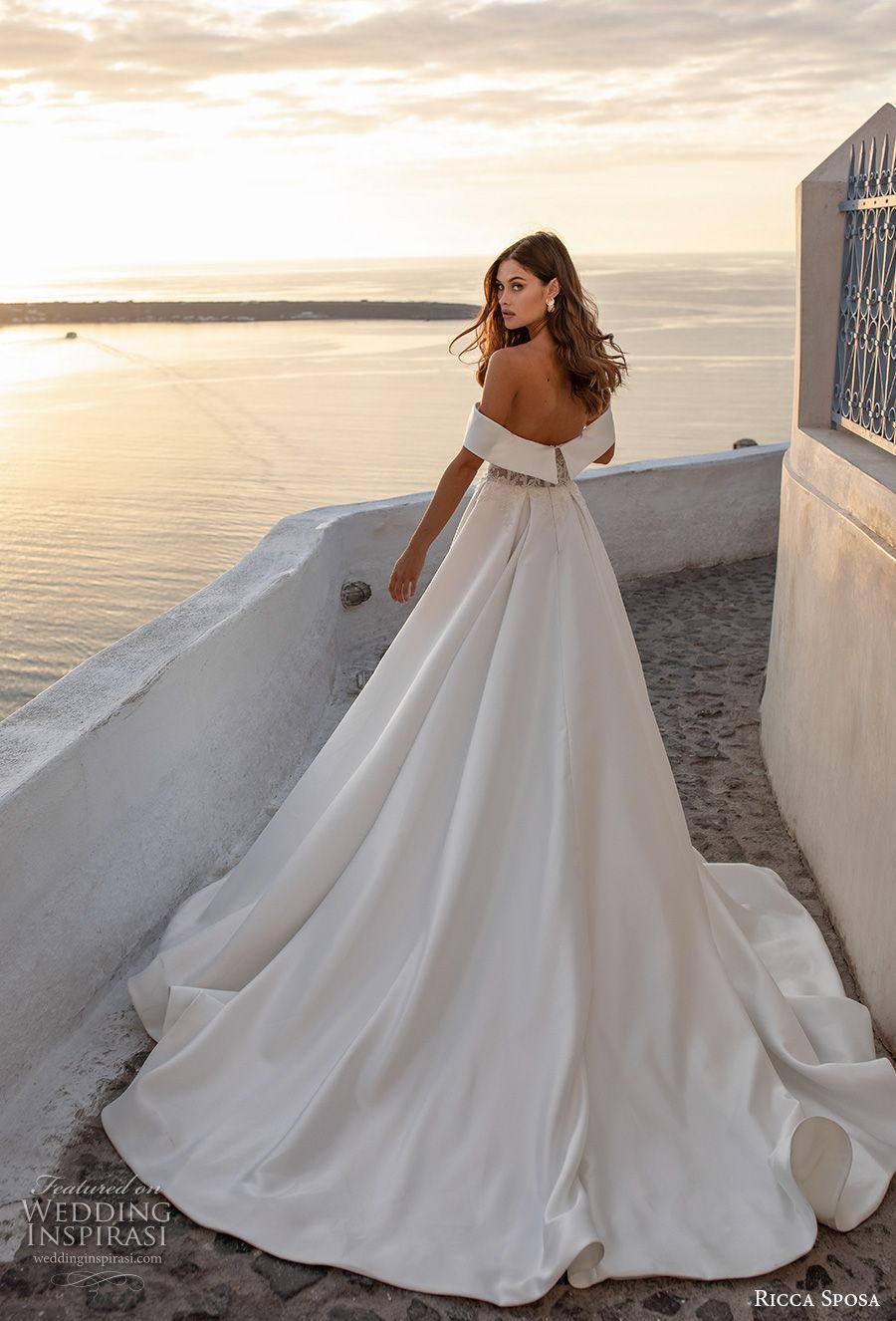 ricca sposa 2021 bridal off the shoulder sweetheart neckline heavily embellished bodice slit skirt a  line wedding dress mid back chapel train (10) bv
