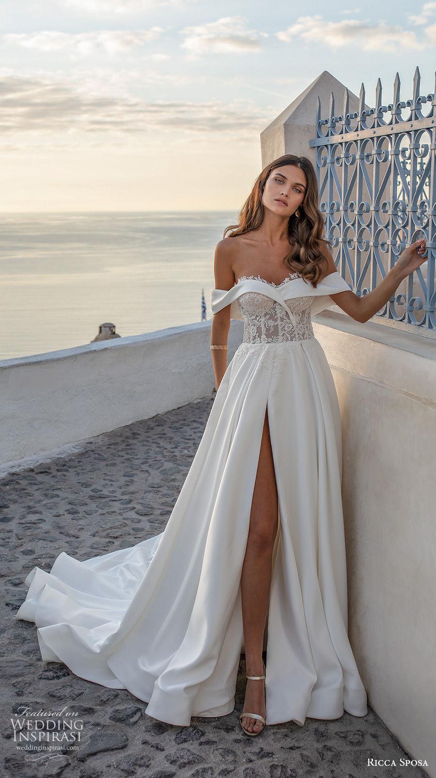 ricca sposa 2021 bridal off the shoulder sweetheart neckline heavily embellished bodice slit skirt a  line wedding dress mid back chapel train (10) mv