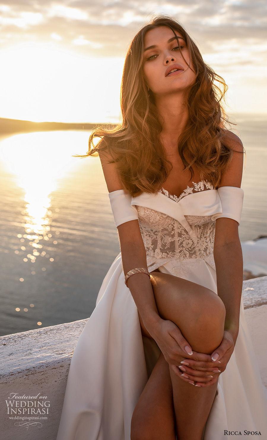 ricca sposa 2021 bridal off the shoulder sweetheart neckline heavily embellished bodice slit skirt a  line wedding dress mid back chapel train (10) zv