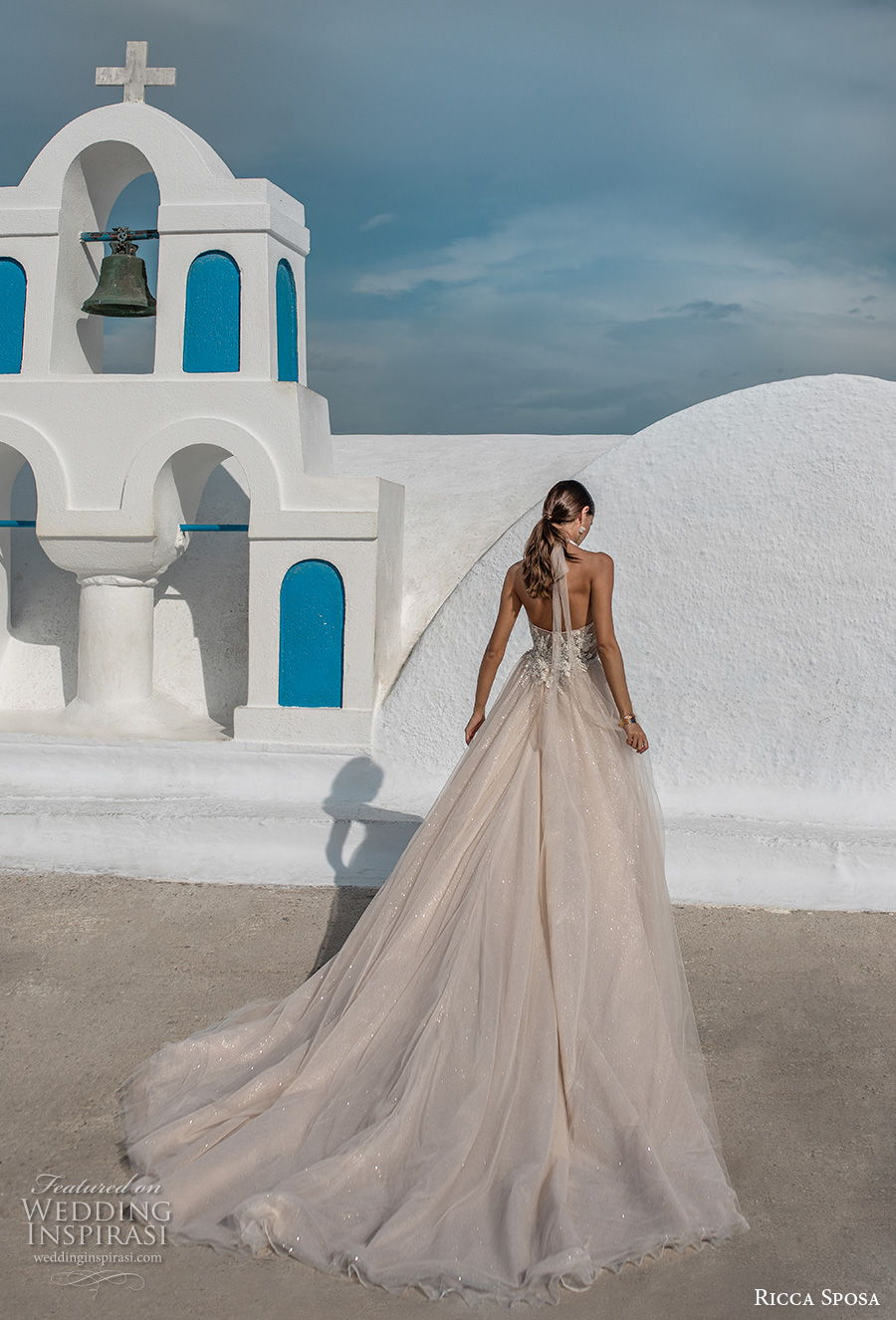 ricca sposa 2021 bridal sleeveless illusion halter sweetheart neckline heavily embellished bodice slit skirt romantic blush a  line wedding dress mid back chapel train (12) bv