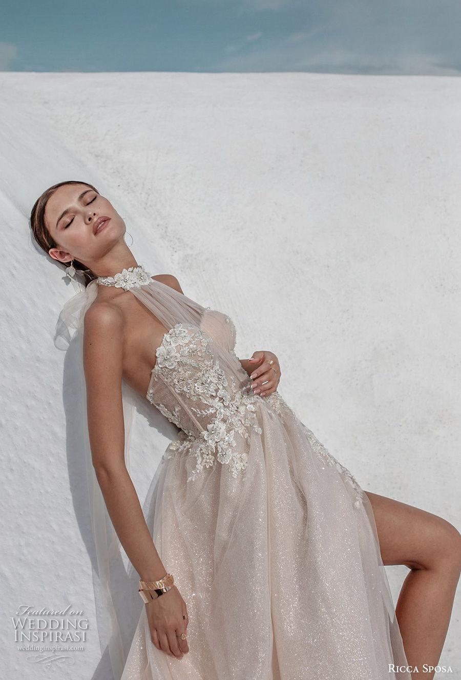 ricca sposa 2021 bridal sleeveless illusion halter sweetheart neckline heavily embellished bodice slit skirt romantic blush a  line wedding dress mid back chapel train (12) zv