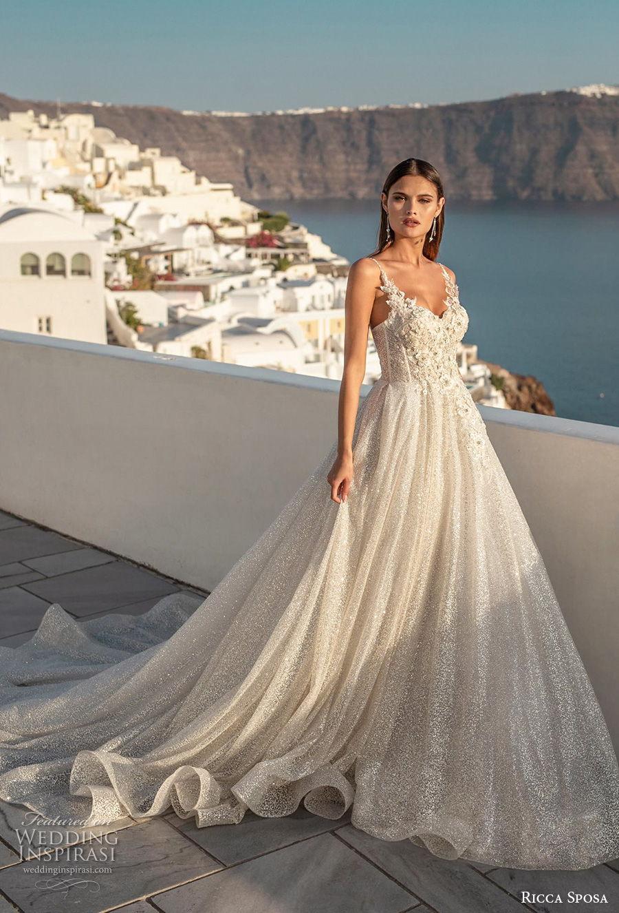 ricca sposa 2021 bridal sleeveless spaghetti strap sweetheart neckline heavily embellished bodice romantic a  line wedding dress mid back chapel train (11) mv