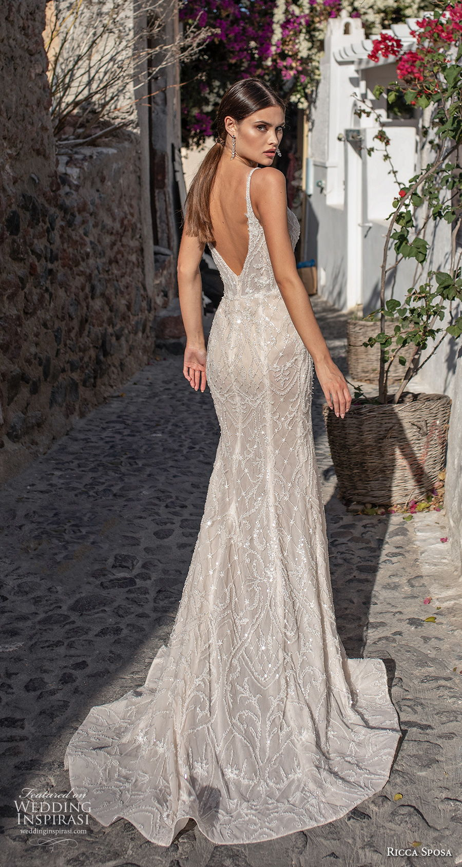 ricca sposa 2021 bridal sleeveless thin strap deep sweetheart neckline full embellishment glamorous elegant sheath wedding dress backless v back sweep train (3) bv