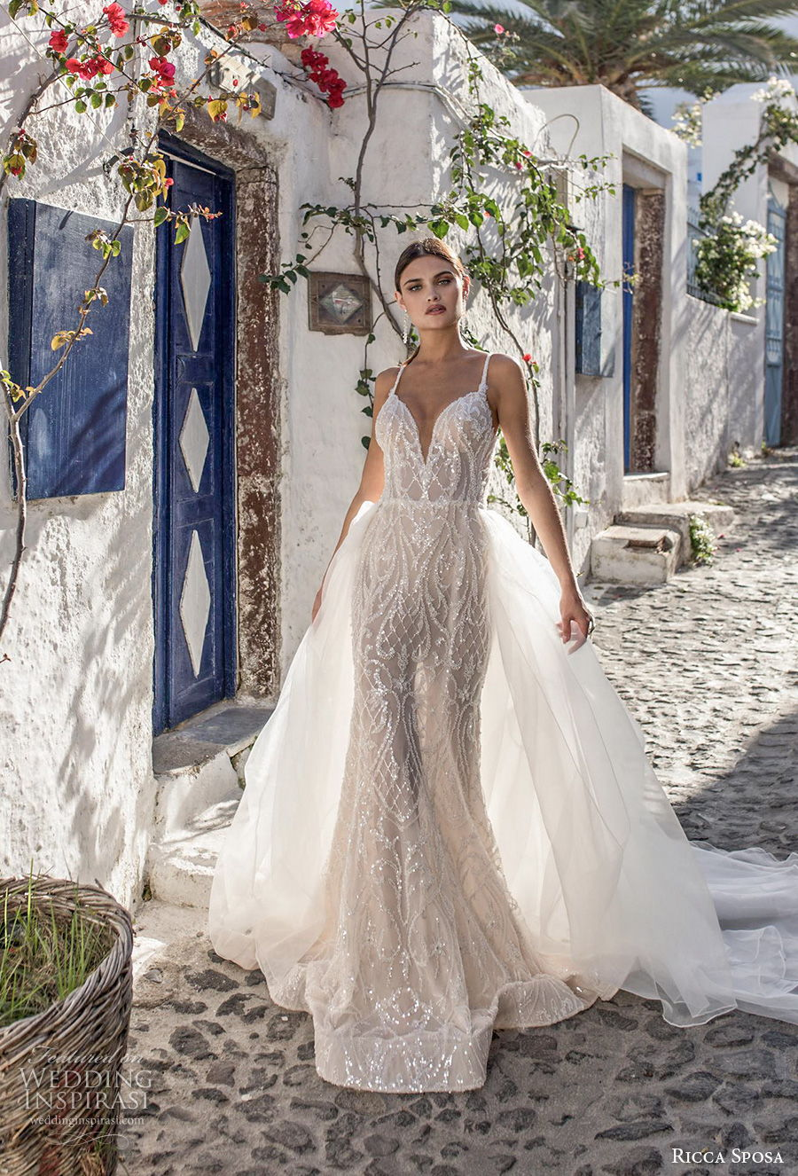 ricca sposa 2021 bridal sleeveless thin strap deep sweetheart neckline full embellishment glamorous elegant sheath wedding dress backless v back sweep train (3) mv