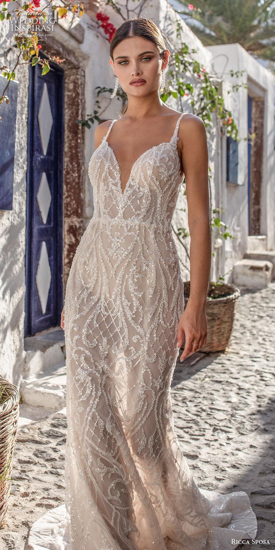 ricca sposa 2021 bridal sleeveless thin strap deep sweetheart neckline full embellishment glamorous elegant sheath wedding dress backless v back sweep train (3) zv