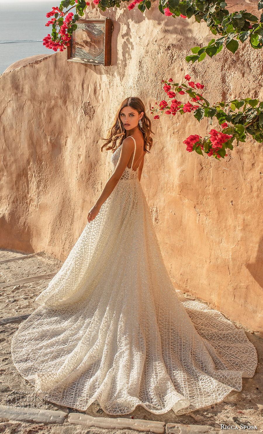 ricca sposa 2021 bridal sleeveless thin strap deep v neck full embellishment romantic a  line wedding dress backless chapel train (5) bv