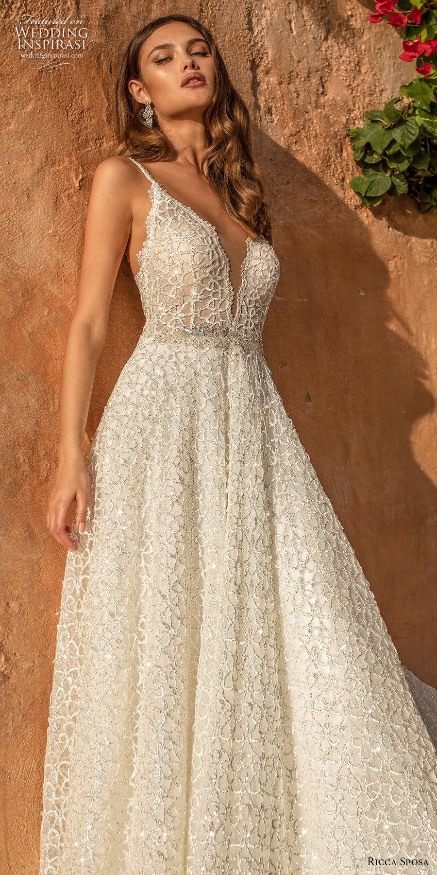 ricca sposa 2021 bridal sleeveless thin strap deep v neck full embellishment romantic a  line wedding dress backless chapel train (5) lv