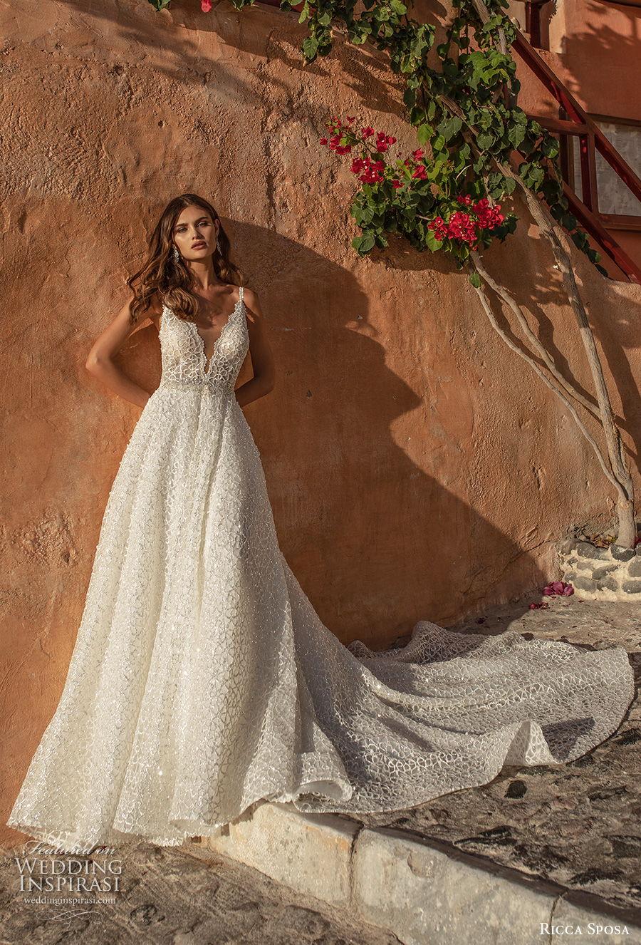 ricca sposa 2021 bridal sleeveless thin strap deep v neck full embellishment romantic a  line wedding dress backless chapel train (5) mv