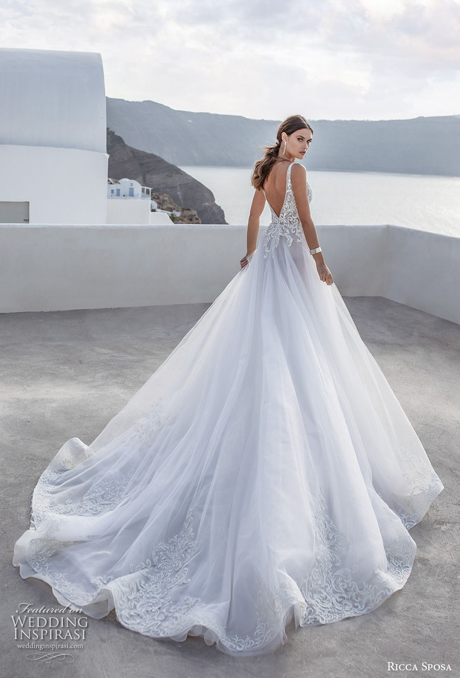 ricca sposa 2021 bridal sleeveless with strap deep plunging sweetheart neckline heavily embellished bodice romantic a  line wedding dress backless v back royal train (1) bv
