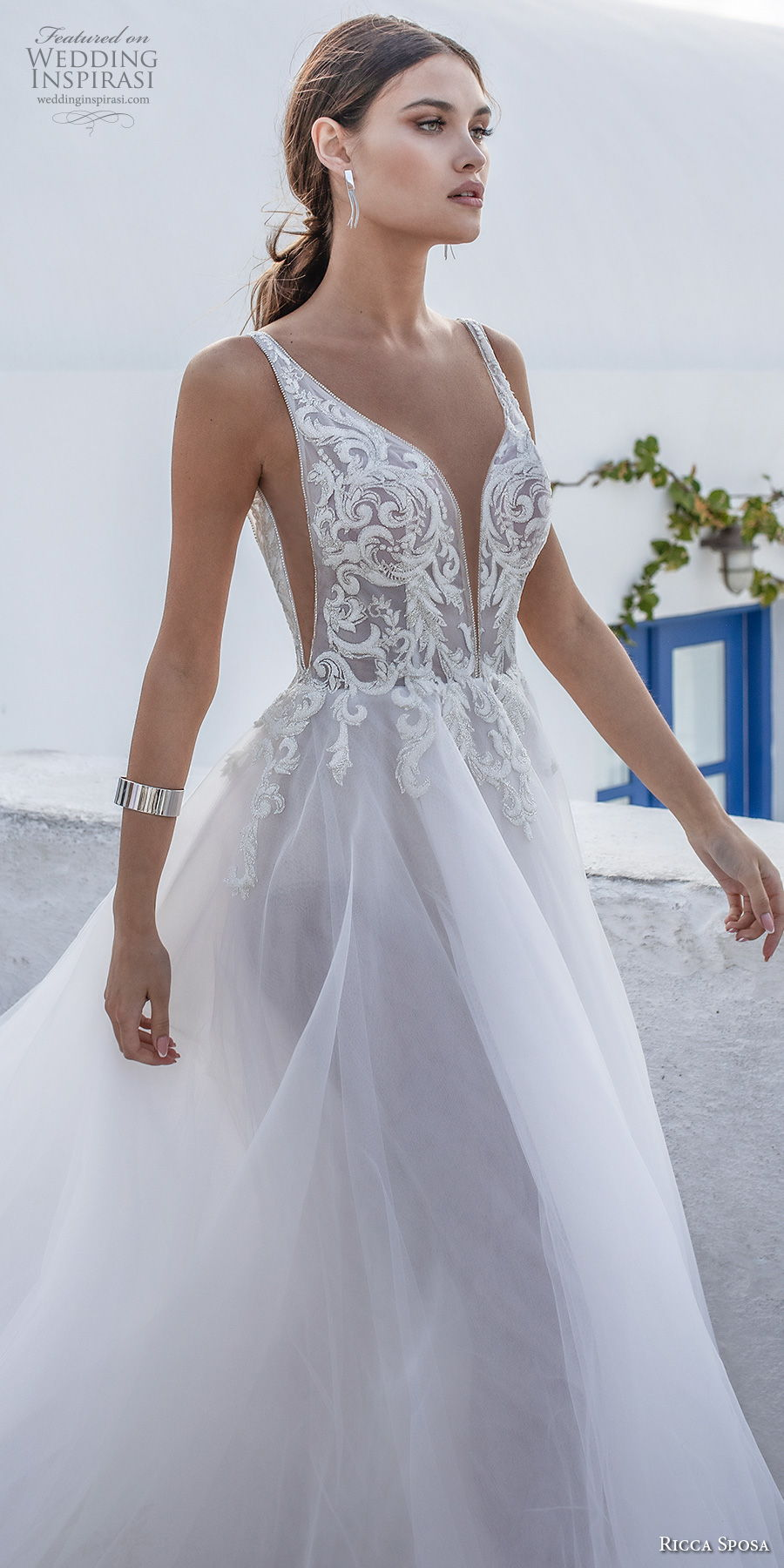 ricca sposa 2021 bridal sleeveless with strap deep plunging sweetheart neckline heavily embellished bodice romantic a  line wedding dress backless v back royal train (1) lv