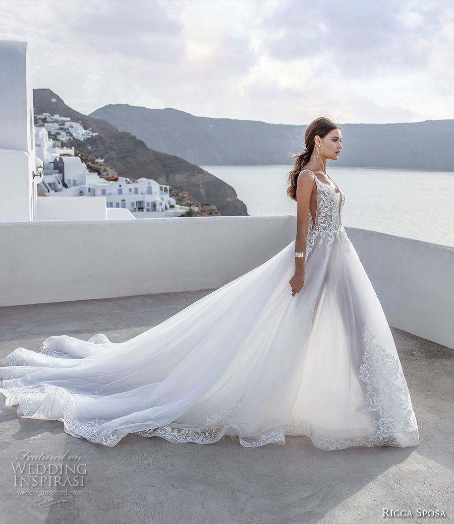ricca sposa 2021 bridal sleeveless with strap deep plunging sweetheart neckline heavily embellished bodice romantic a  line wedding dress backless v back royal train (1) mv