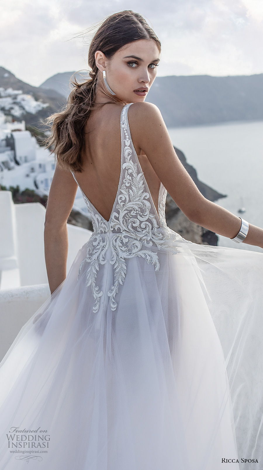 ricca sposa 2021 bridal sleeveless with strap deep plunging sweetheart neckline heavily embellished bodice romantic a  line wedding dress backless v back royal train (1) zbv