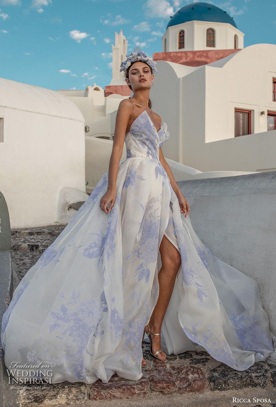 ricca sposa 2021 bridal strapless sweetheart neckline crump catcher wrap over bodice slit skirt romantic blue prints a  line wedding dress mid back chapel train (2) mv