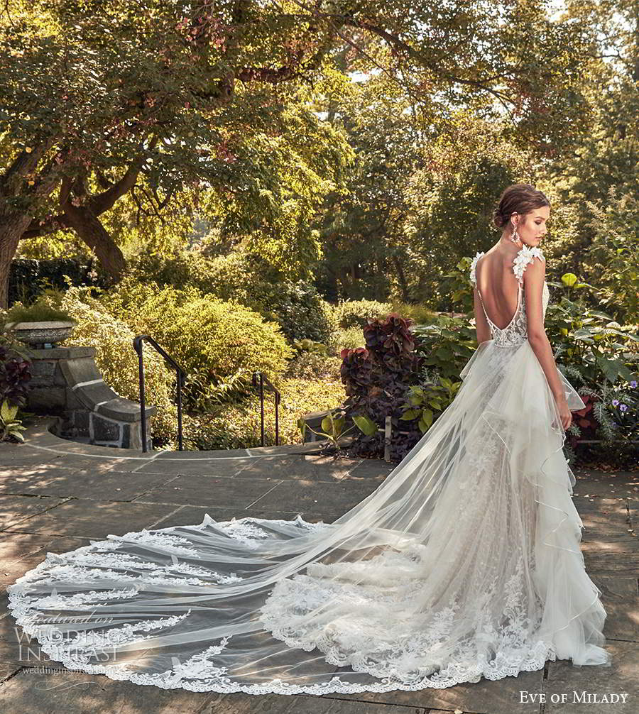 eve of milady spring 2020 bridal sleeveless straps sweetheart neckline fully embellished sheath mermaid lace wedding dress ball gown overskirt chapel train (1) bv