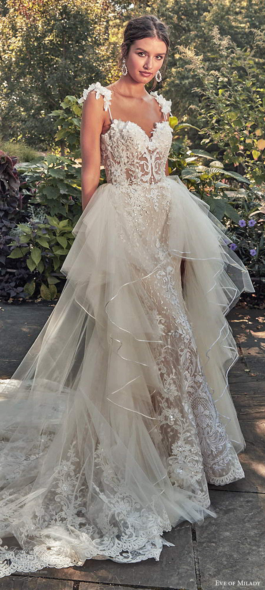 eve of milady spring 2020 bridal sleeveless straps sweetheart neckline fully embellished sheath mermaid lace wedding dress ball gown overskirt chapel train (1) lv