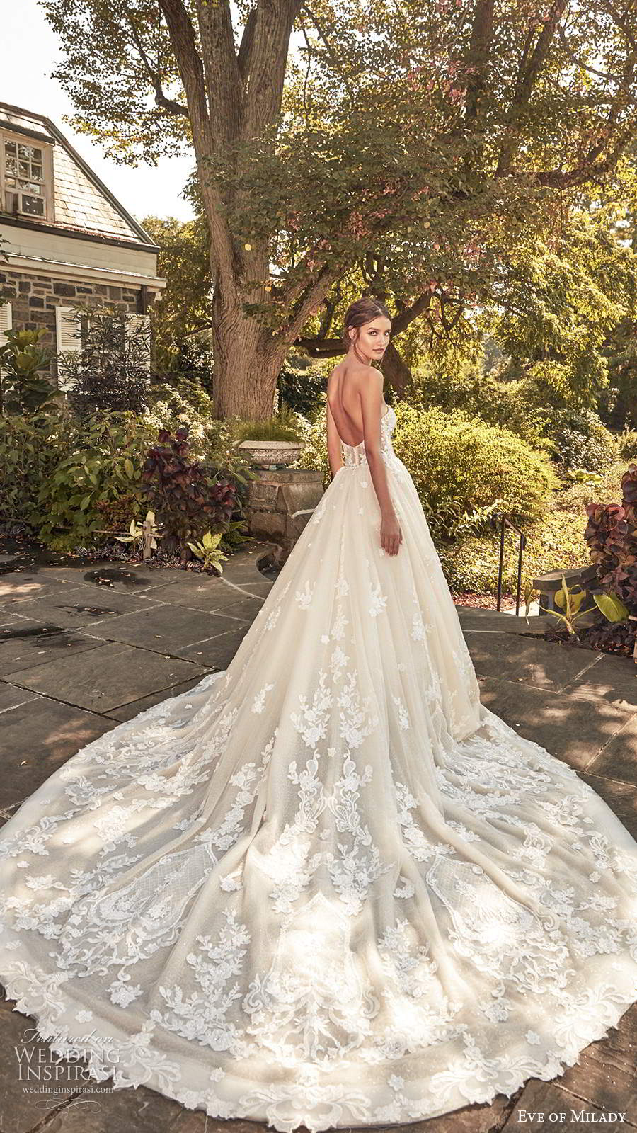 eve of milady spring 2020 bridal strapless sweetheart neckline fully embellished lace a line ball gown wedding dress chapel train (2) bv